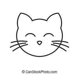 Cute cat face line icon.