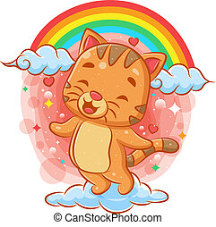 Cute cat flying on the cloud with rainbow background