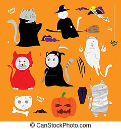 Cute cat hand drawn cartoon. Halloween theme