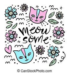 CUTE CAT Hand Drawn Children Sketch Vector Illustration Set