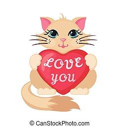 Cute Cat hugging heart.