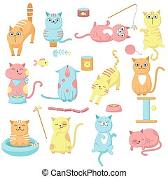 Cute cat icon set, vector hand drawn illustration