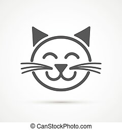 Cute cat icon . Vector element for design