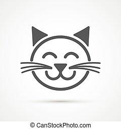 Cute cat icon . Vector element for design