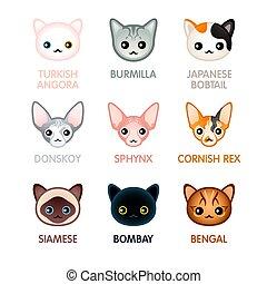 Cute cat icons, set I