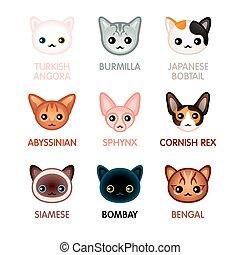Cute cat icons, set I - Kawaii cat illustrated head icons