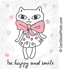 Cute cat in a dress. Cartoon vector.