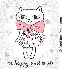 Cute cat in a dress. Cartoon vector.