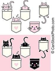 Cute cat in a pocket, vector set