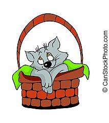 Cute cat in a wicker basket, cartoon vector illustration.