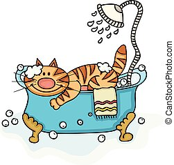 Cute cat in bathtub with shower
