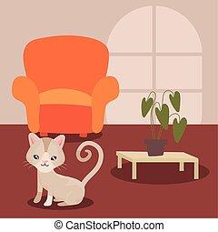cute cat in living room