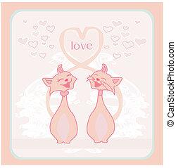 cute cat in love card