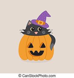 cute cat in pumpkin