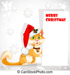 Cute cat in Santa's hat holding a banner congratulating