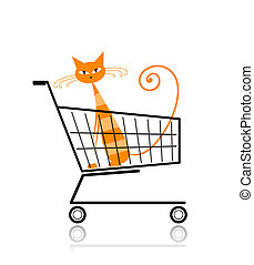 Cute cat in shopping cart for your design