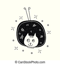 Cute cat in space print. Childish vector illustration in doodle style for kids