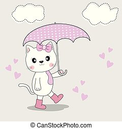 Cute cat in the autumn season in boots and with an umbrella goes.