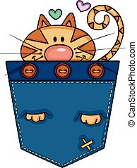 Cute cat in the pocket