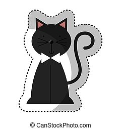cute cat isolated icon