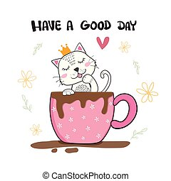 cute cat licking hand in cup of coffee, hand drawn