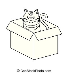 cute cat mascot in carton box character
