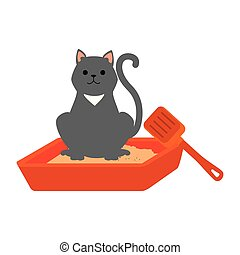 cute cat mascot in the sand box character