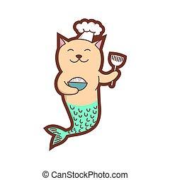 Cute cat mermaid, happy chef art