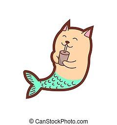 Cute cat mermaid is drinking coffee