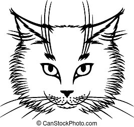 Cute cat muzzle - Vector illustrations of contour image of ...