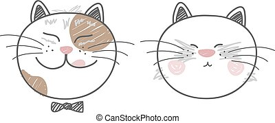 Cute cat on white background vector illustration