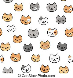 Cute cat pattern - Seamless pattern of cute cartoon cats,...