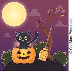 cute cat pumpkin and broom halloween
