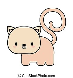 cute cat puppy kawaii, line and fill style icon