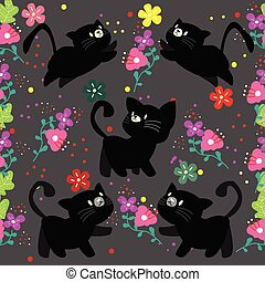 Cute Cat seamless pattern with flower on colorful background Vector illustration.Cartoon style