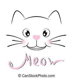 Cute cat silhouette. Black smile of kitty with  lettering word Meow.