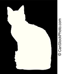 Cute cat sitting. Iillustration of black silhouette of kitty on white background. Element for your design, print, sticker. Shadow