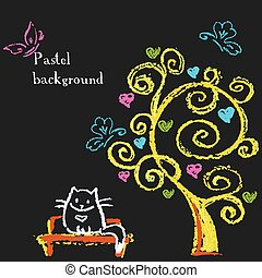 cute cat sitting on a bench under a tree with hearts.
