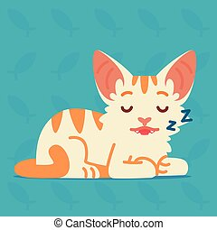 Cute cat sleeping. Vector illustration of a kitten on blue background. Emoji. Element for your design, printing, stickers, chat. White cat with orange stripes in a flat cartoon style.