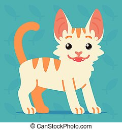 Cute cat standing. Vector illustration of a happy kitten with tail up on blue background. Emoji. Element for your design, stickers, chat. White cat with orange stripes in a flat cartoon style.