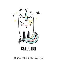 Cute cat unicorn hand drawn.