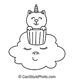 cute cat unicorn in cup with cloud kawaii style