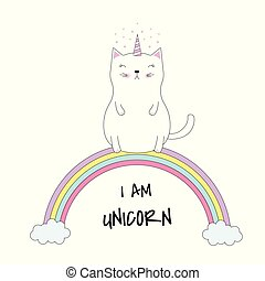 Cute cat unicorn sits on colorful rainbow.