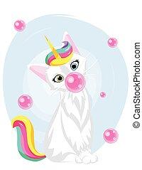 cute cat unicorn with bubblegum. kawaii hand drawn cartoon. Unicat
