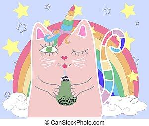 Cute cat unicorn with rainbow and slogan. hand drawn illustration.
