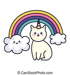 cute cat unicorn with rainbow kawaii style icon