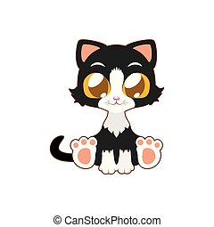 Cute cat vector illustration art in flat color