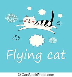 Vector illustration of funny flying cat lovers. - Cute cat...