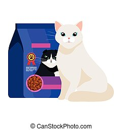 cute cat white with food in bag isolated icon