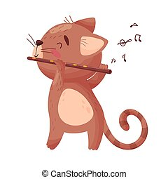 Cute cat with a flute. Vector illustration on white background.